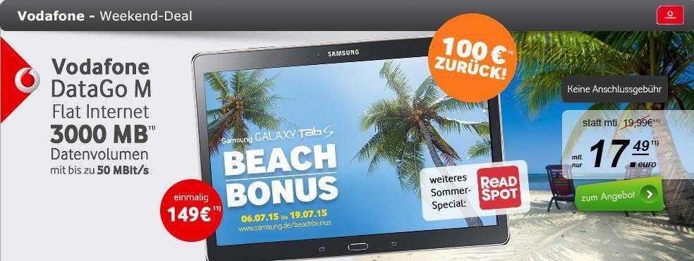 Vodafone DataGo M 3GB Daten Flat LTE für 17,49€ mtl. + Samsung Galaxy Tab S 10.5 LTE 16 GB für effektiv 49€ dank Cashback