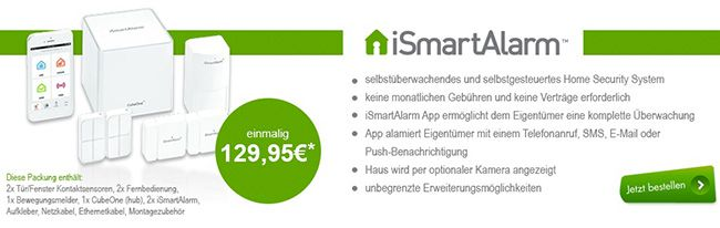 iSmartAlarm Home Security Starter Set   Überwachungssystem mit Push Funktion für 99,90€