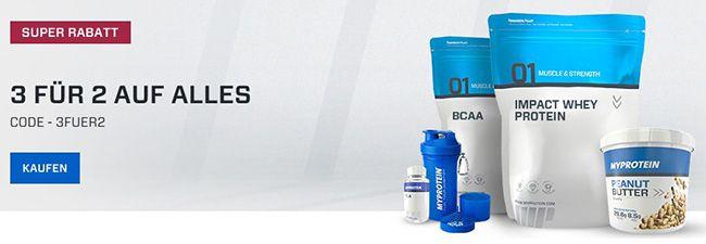 MyProtein mit 3 für 2 Aktion auf alle Produkte   3 Produkte kaufen, nur 2 zahlen