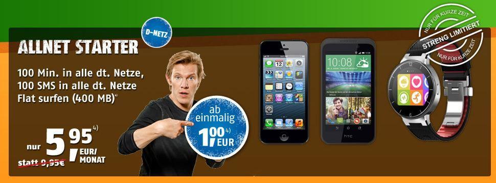 Vodafone Allnet Starter mit 100 Minuten, 100 SMS, 400MB + Gutschrift ab 3,86€ mtl.