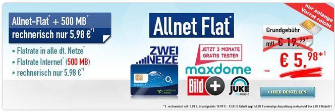 Allnet flat nur 598€ Allnet Flat + 500 MB + 250SMS im ePlus/O² Netz für effektiv nur 5,98€ *HOT*