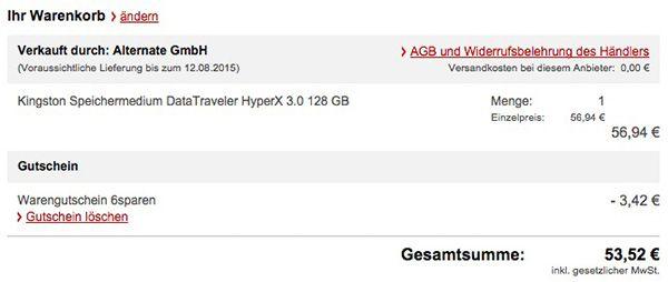 Allyouneed Warenkorb Kingston DataTraveler HyperX USB 3.0 Stick mit 128GB für 53,52€
