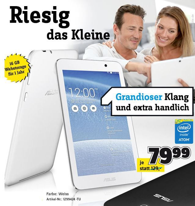 Asus Tablet Asus MeMO Pad HD 7  – 7″ Tablet mit 16GB, HD Display und Quad Core Prozessor ab 74,44€