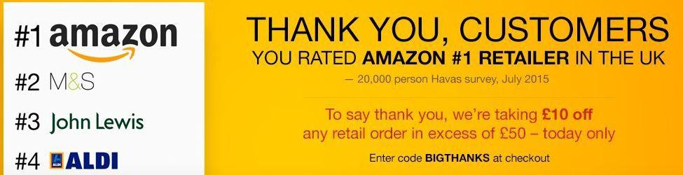 Amazon UK heute bis 00:59€ ab £50 auf (fast) alles £10 Rabatt!
