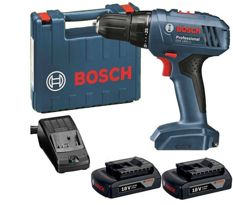 BOSCH GSR 1800 Li BOSCH GSR 1800 LI Professional Akku Bohrschrauber + 2x Akkus Li 1,5 Ah + Ladegerät + L Boxx für 119,99€