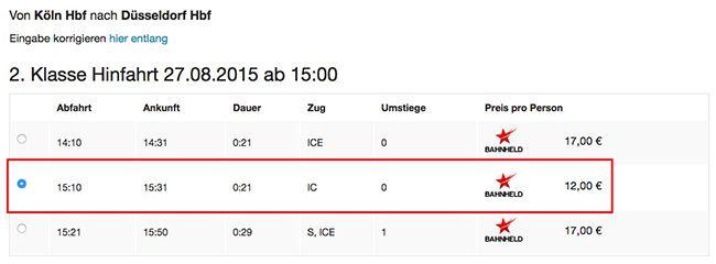 Bahnheld Beispiel 10€ Bahnheld Gutschein ohne MBW   z.B. Köln   Düsseldorf für 2€