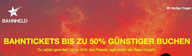 Bahnheld 10€ Bahnheld Gutschein ohne MBW   z.B. Köln   Düsseldorf für 2€