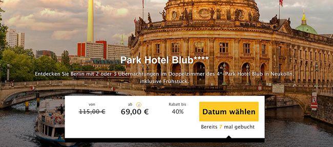Berlin Stadtreise 2 Übernachtungen im Berliner 4 Sterne Park Hotel Blub + Frühstück ab 69€ p.P.