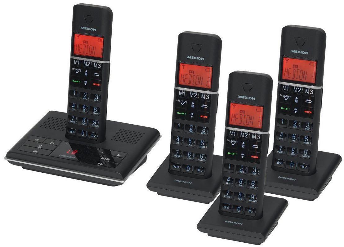 Dect Angebot MEDION LIFE P63014 MD 83674    DECT Telefonanlage mit AB und 4 Mobilteilen für nur 39,99€