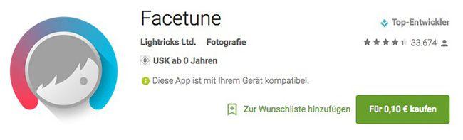 Facetune Bildbearbeitungs App für Android für 0,10€