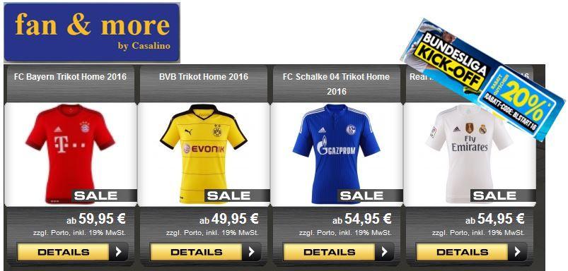 BVB Home Trikot ab 39,96€   dank 20% Gutschein auf alles @ fanandmore