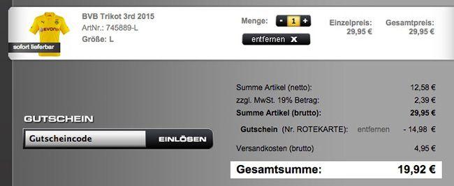Fandandmore Kasse BVB 2015er Heim Trikot mit oder ohne Flock für 19,92€   Kinder nur 14,92€
