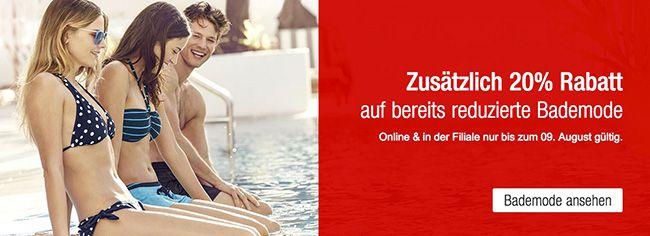 20% Extra Rabatt auf ausgewählte reduzierte Artikel bei Galeria Kaufhof + 10% Gutschein