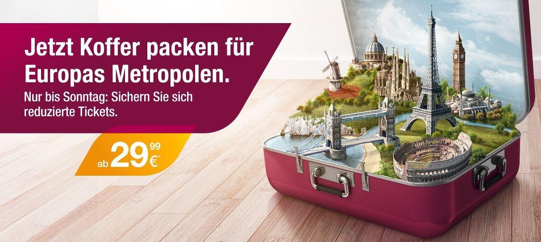 Germanwings: reduzierte Tickets für Europas Metropolen ab 29,99€   bis Sonntag