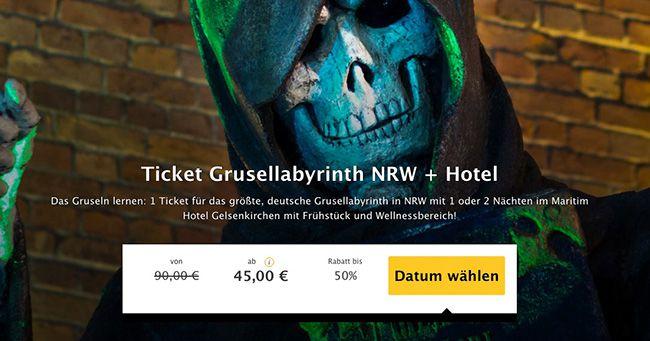 Grusellabyrinth NRW Grusellabyrinth NRW + Übernachtung im 4 Sterne Hotel mit Frühstück und Wellness ab 45€ p.P.