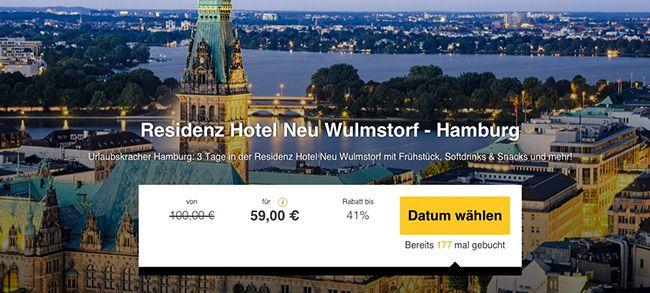 3 Tage Hamburg im top bewertetem 3 Sterne Hotel mit Frühstück für 59€ p.P.