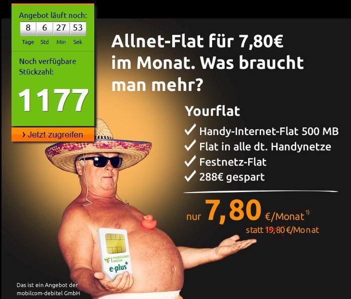 ePlus/O² Allnet Flat in alle deutschen Netze inkl. 500MB Daten für nur 7,80€ mtl.  Update