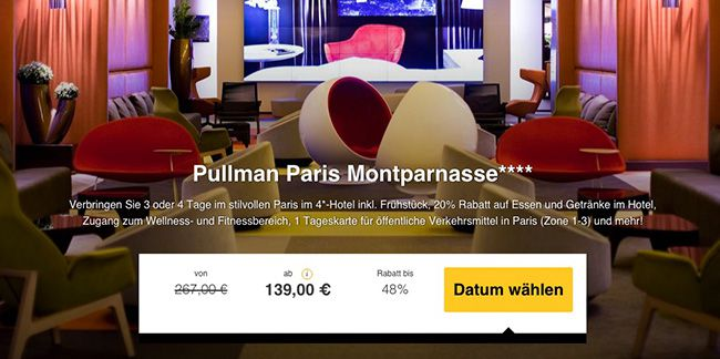 Hotel Pullman Paris Montparnas 3 Tage Paris im 4 Sterne Hotel mit Frühstück + Wellness & Fitness ab 139€ p.P.