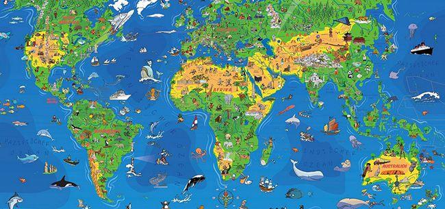 Kinder Weltkarte 1,95 Meter Kinder Weltkarte XXXL (Edition 2016) + Gratis Taschen Atlas + Freizeitkarte für 13,95€