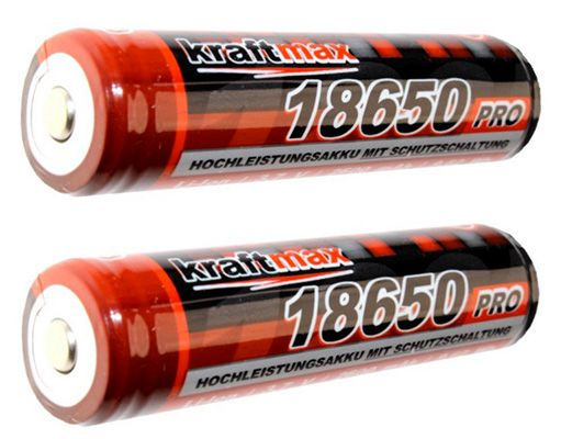 Kraftmax 18650 Pro Akku Doppelpack Kraftmax 18650 Pro Akku mit PCB Schutzschaltung für 9,90€