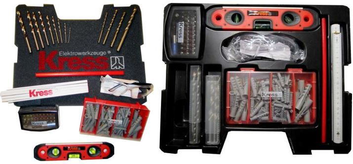 Kress Werkzeuge Kress Werkzeugset im Koffer, mit 137 Teilen, wie 32tlg. Bit Box, Bohrern und vielen mehr für 12,99€