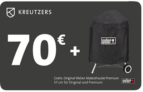 Kreutzers Gutschein KREUTZERS 70€ Fleisch  und Genussgutschein + Original Weber Abdeckhaube für 34€