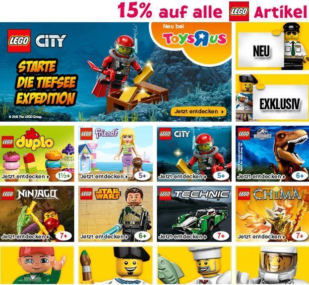 ToysRUs mit 15% Rabatt auf alle LEGO Artikel