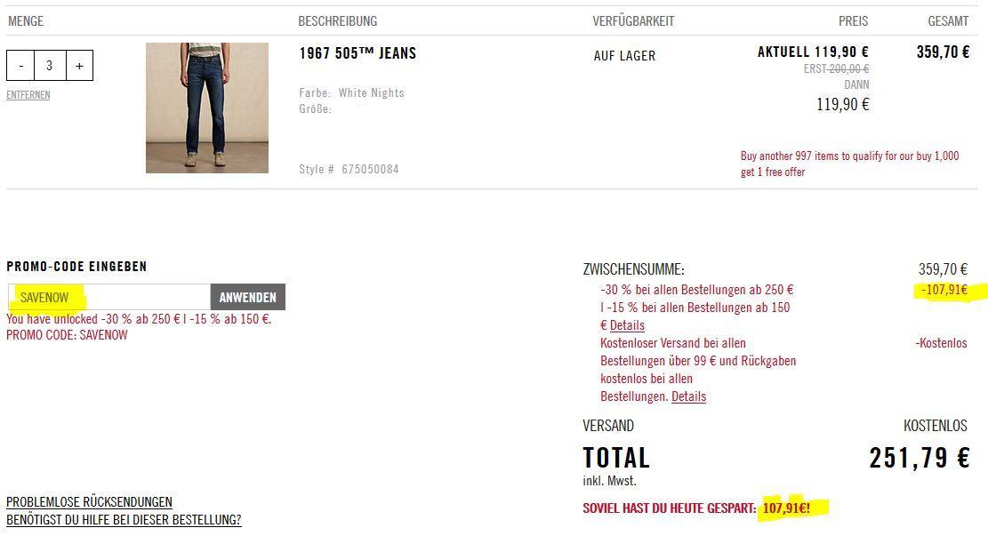 Levis 505 Jeans 1967 statt 142€ ab 79,90€ und mehr im Levis 50% Sale + bis zu 30% extra Rabatt