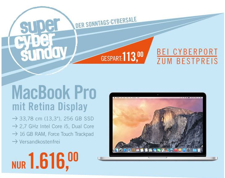 Mac Book Pro Apple MacBook Pro 13,3″   Retina 2,7 GHz i5, 16 GB, 256 GB für 1.616€