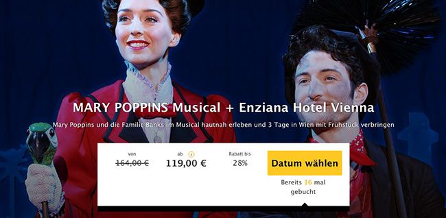 3 Tage Wien mit Mary Poppins Musical Ticket im 3,5 Sterne Hotel mit Frühstück ab 119€ p.P.