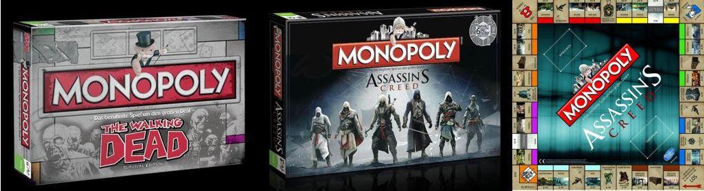 Monoply Gutschein Monopoly Editionen: The Walking Dead Survival und Assassins Creed für je nur 26,34€