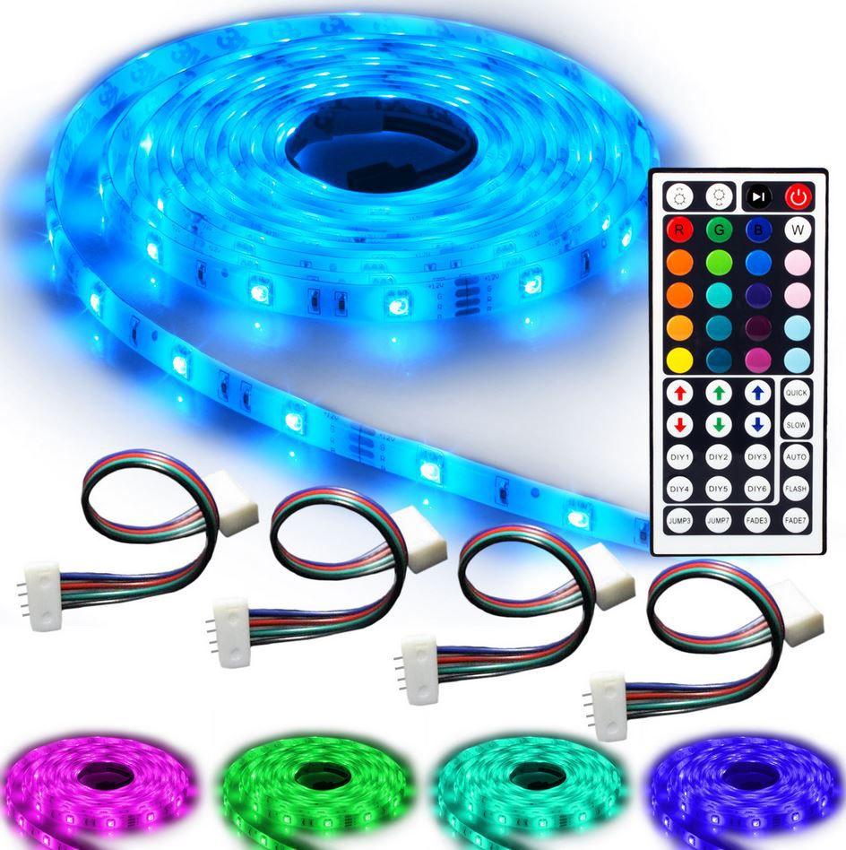 NINETEC Flash30   5m RGB LED Strip im Profi Set (wasserdicht IP65 + 4 Verbinder) für 19,99€