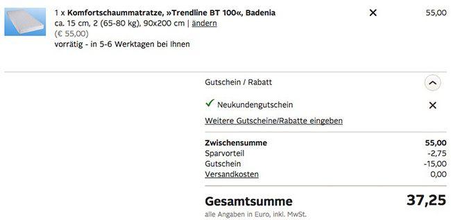 Trendline BT 100 Komfortschaummatratze (90x200) für 37,25€