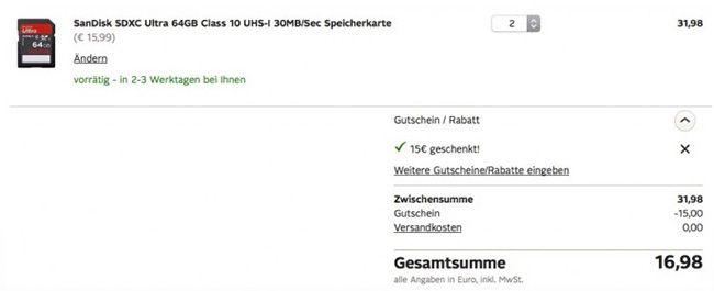 Doppelpack SanDisk SDXC Ultra 64GB Class 10 UHS I Speicherkarten für 16,98€   nur für Otto Neukunden!