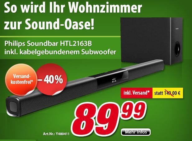 Philips HTL2163 SoundBar Philips HTL2163B   Soundbar mit Bluetooth und Subwoofer statt 129€ jetzt für 89,99€