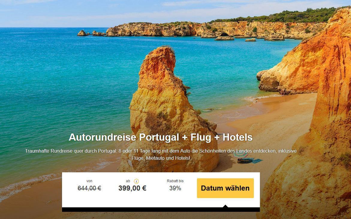 8 oder 11 Tage Autorundreise Portugal inkl. Mietwagen, Flug und Hotels ab 399€