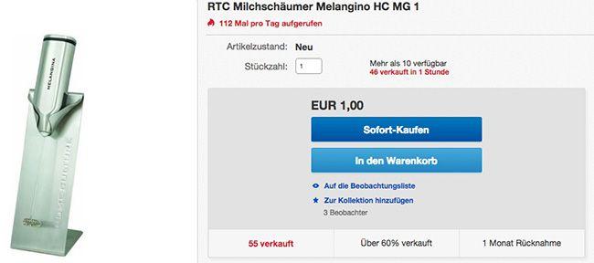 RTC Melangino HC MG 1 Milchschäumer Schnell! RTC Melangino HC MG 1 Milchschäumer für 1€