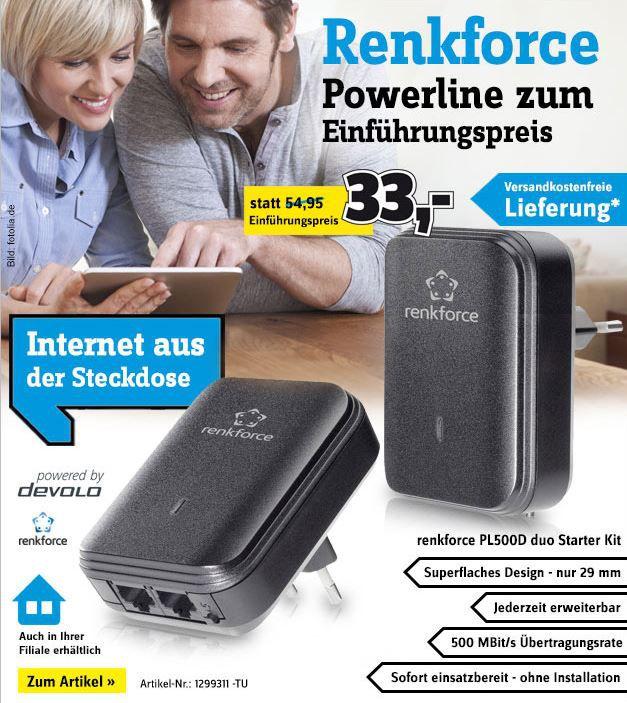 Renkfoce powerline Set Renkforce PL500D duo   Powerline Starter Kit 500 MBit/s für 33€