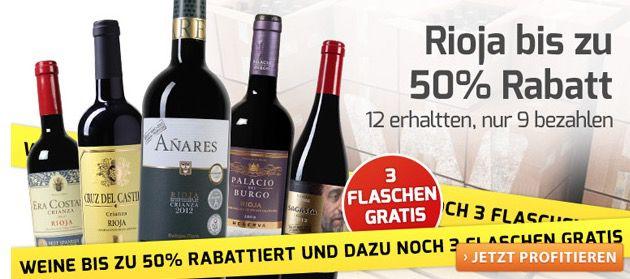 Rioja Weine im 12er Pack bis zu 50% reduziert   12 Flaschen erhalten, nur 9 bezahlen
