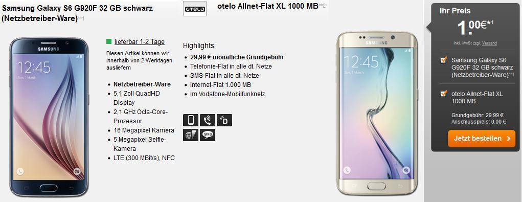 Samsung S6 edge Samsung Galaxy S6 oder S6 Edge + otelo Allnet Flat XL mit 1GB Daten ab 29,99€ mtl.