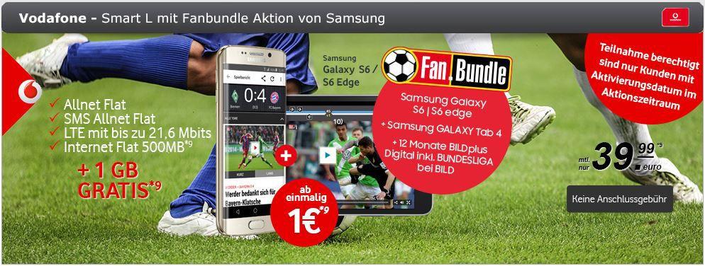 Samsung Galaxy S6 edge 64GB + Galaxy Tab 4 + Vodafone Voll Flat Smart L inkl. 1,5 GB Daten für 39,99€ mtl.
