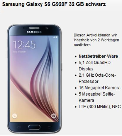 Samsung S6 kostenlos Samsung Galaxy S6  32 GB + Vodafone otelo Allnet Flat M 500MB für 24,12€ mtl.