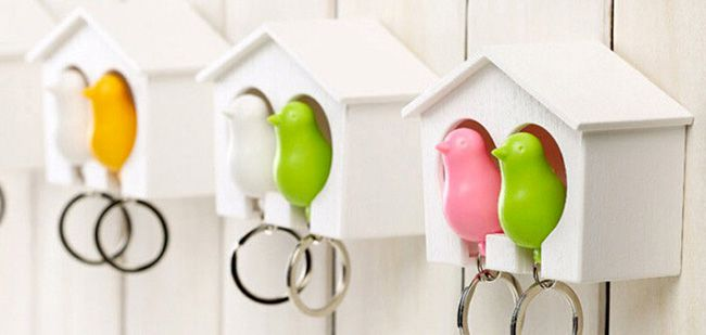 Schlüsselanhänger Vogelhaus Schlüsselanhänger mit Schlüsselbrett im Vogelhaus Design für 3,13€   China Gadget!