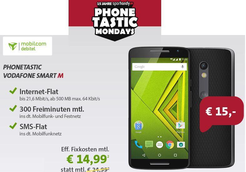 Motorola Moto X Play + Vodafone Smart M mit 500MB Daten und SMS Flat + 300min dt. Mobilfunk  und Festnetz für nur 15,62€mtl. Update