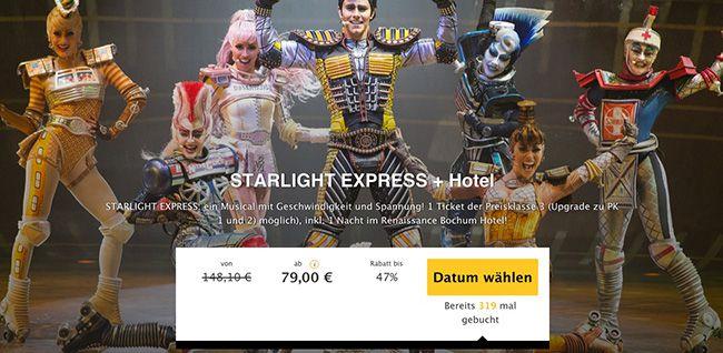 Starlight Express Ticket + 1 Nacht im 4 Sterne Renaissance Bochum Hotel + Frühstück ab 79€ p.P.