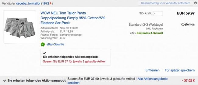 6er Pack Tom Tailor Simply Boxershorts für 22,95€