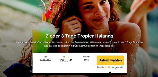 Tropical Islands 2 oder 3 Tage Tropical Islands im Familien  oder Premiumzimmer mit Frühstück ab 79€ p.P.
