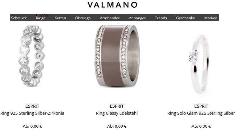 Valmano Preisfehler Preisfehler? Ringe bei VALMANO für 0,00€ inkl. Versand!