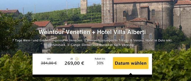 7 Tage Venetien (Italien) mit Weintour im 3 Sterne Hotel mit Frühstück ab 269€ p.P.