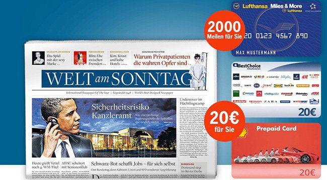13 Ausgaben WELT am Sonntag für 42,90€ + 20€ Gutschein